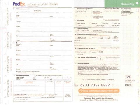Fedex联邦快递1打印模板